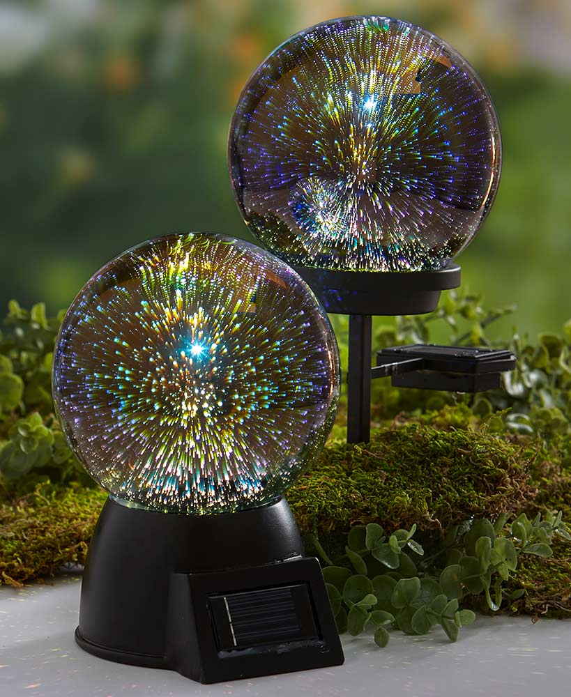3 D Effect Solar Glass Gazing Balls Gazing Ball Contemporary Garden Solar Lights Garden