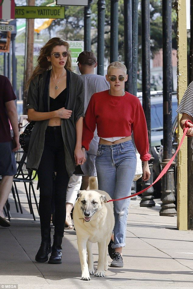 e8f4ef20415f96 PDA: Kristen Stewart, 26, and supermodel Stella Maxwell, 26, didn't have a  care in the world as they walked hand-in-hand in matching crop top looks in  New ...