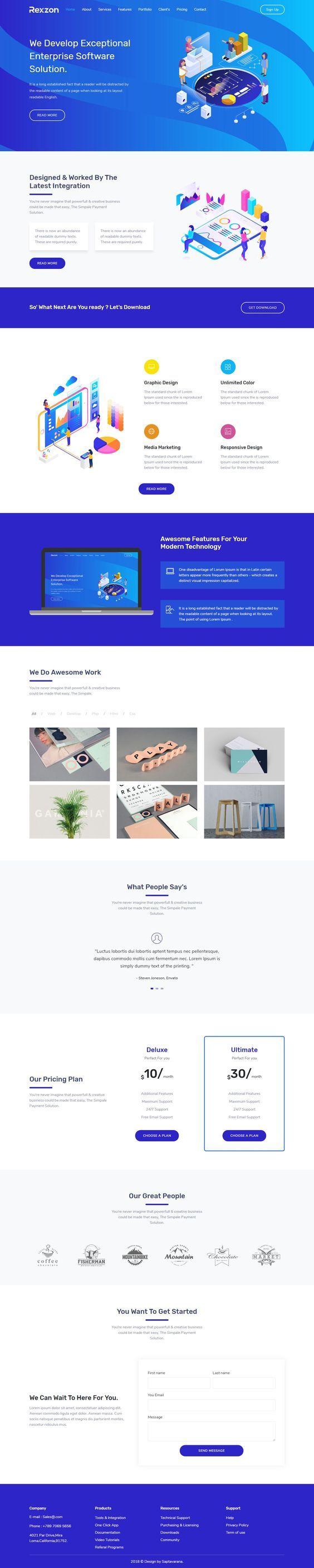 Rexzon Responsive Software HTML5 Landing Page Template
