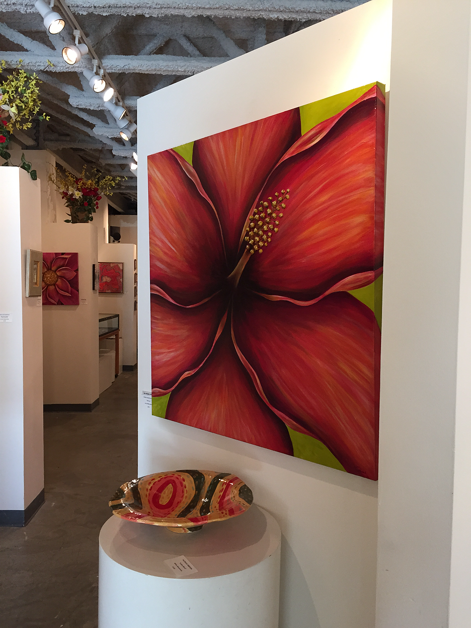 """Hibiscus 36"""" x 36"""" Lawrence Street Gallery"""