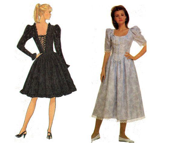 80s GUNNE SAX Laced Back Prom Dress Pattern Simplicity 8672 Vintage ...