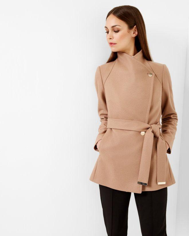 Short wrap coat - Camel | Jackets & Coats | Ted Baker | Fall ...