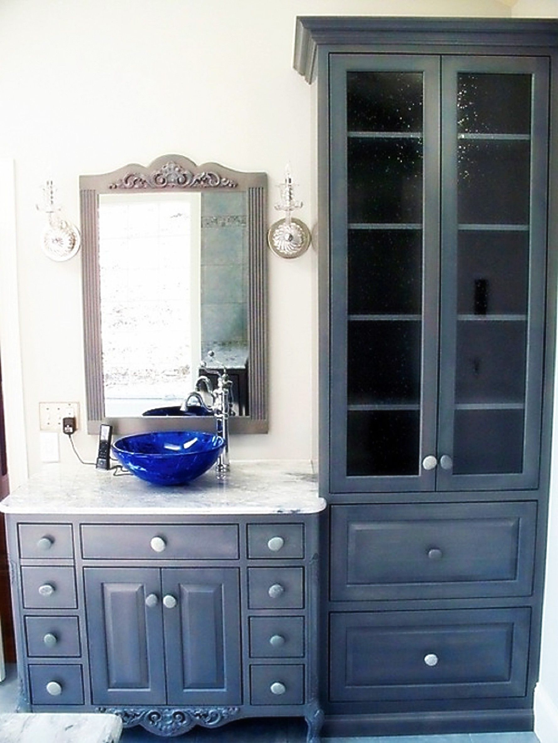 Shabby Chic Bathroom Cabinets Storage For Linen With Vintage Mirror And Wall Light Plu Vintage Bathroom Cabinet Shabby Chic Bathroom Bathroom Furniture Storage