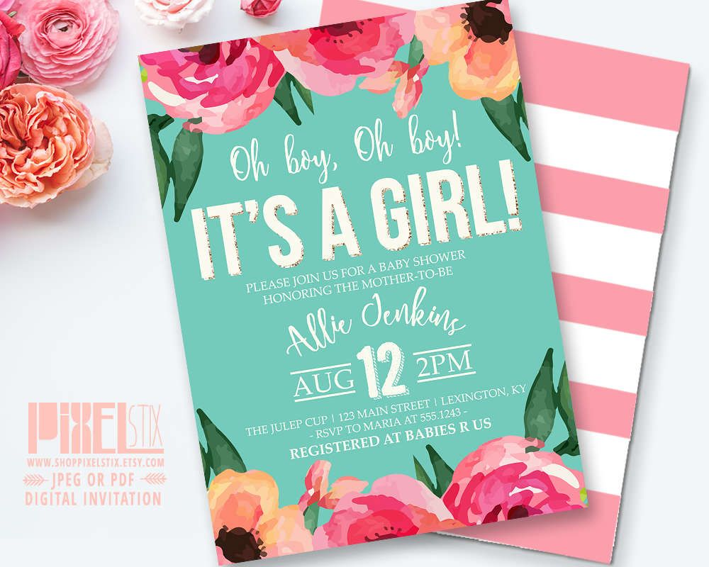 Watercolor Flower Baby Shower Invitation, Floral Baby Shower, Girl Baby Shower, Striped Baby Shower, Gold Glitter, Teal Pink Blush Peach by shopPIXELSTIX on Etsy