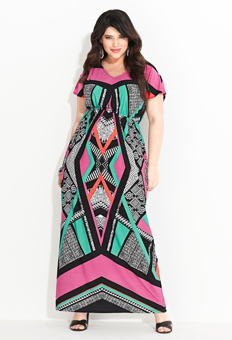 bdcdb968836 Plus Size Geo Print Maxi Dress