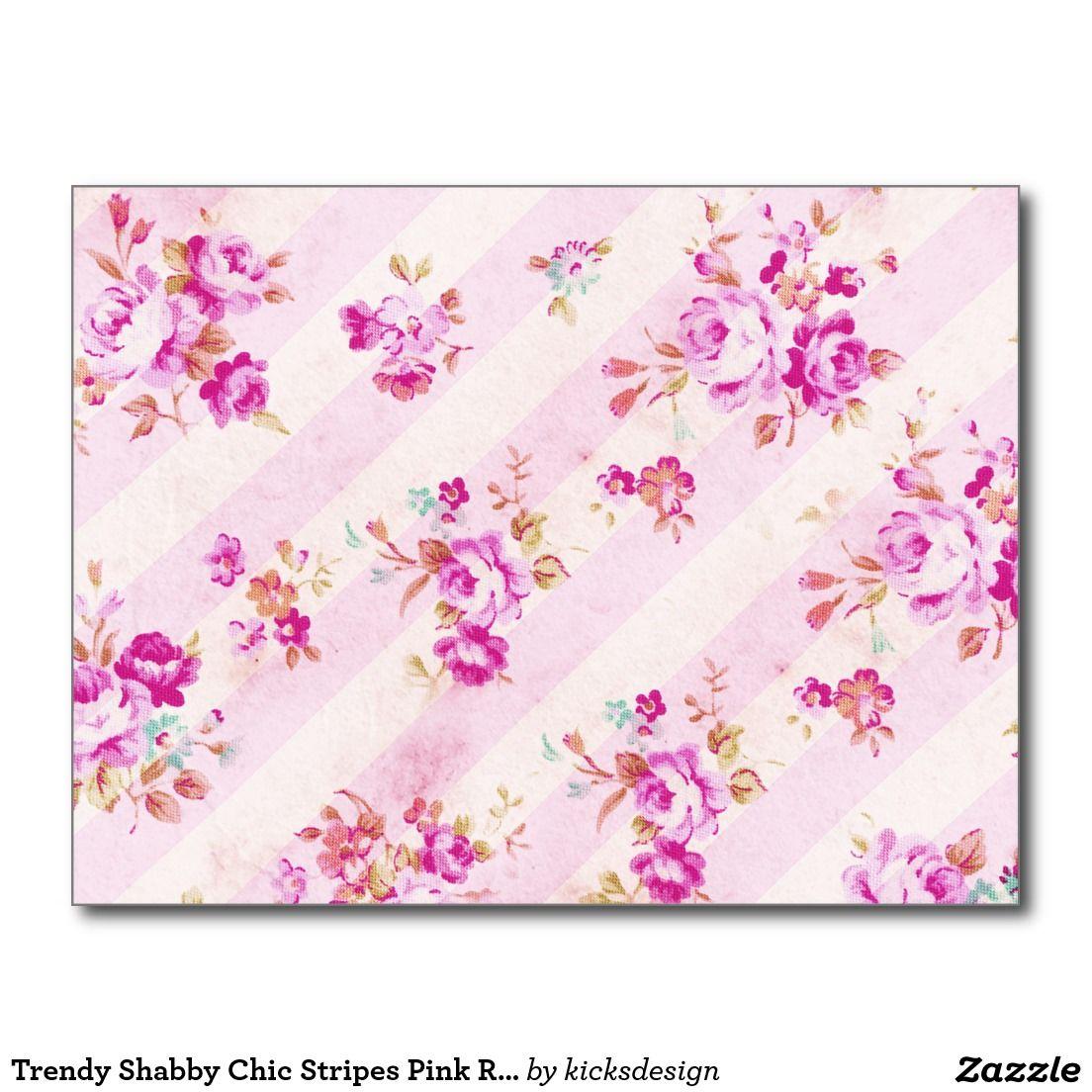 O chique na moda listra o teste padrão cor-de-rosa cartoes postais