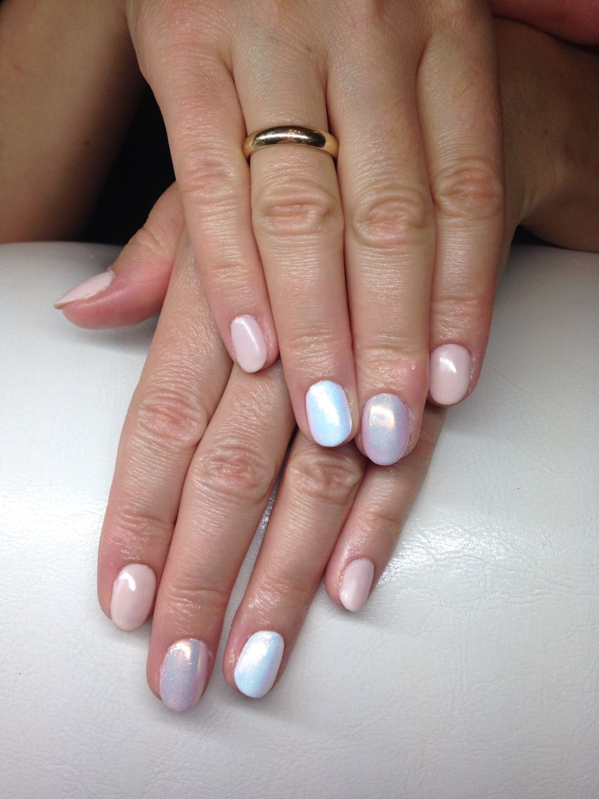 white and nude nails with mermaid effect | Inspired | Pinterest ...