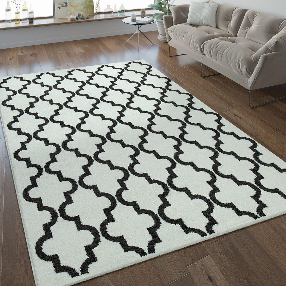 Modern Kurzflor Teppich Marokkanisches Design Weiss Marokkanisches Design Weisser Teppich Und Teppich Schwarz Weiss