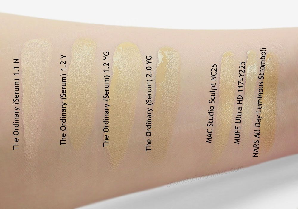 Image Result For The Ordinary 1 2y 1 2yg Swatch Nars All Day Luminous Makeup Swatch