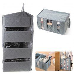 $3.40 65L Eco-Friendly Bamboo Charcoal Folding Clothes Home Storage Bag - Gray