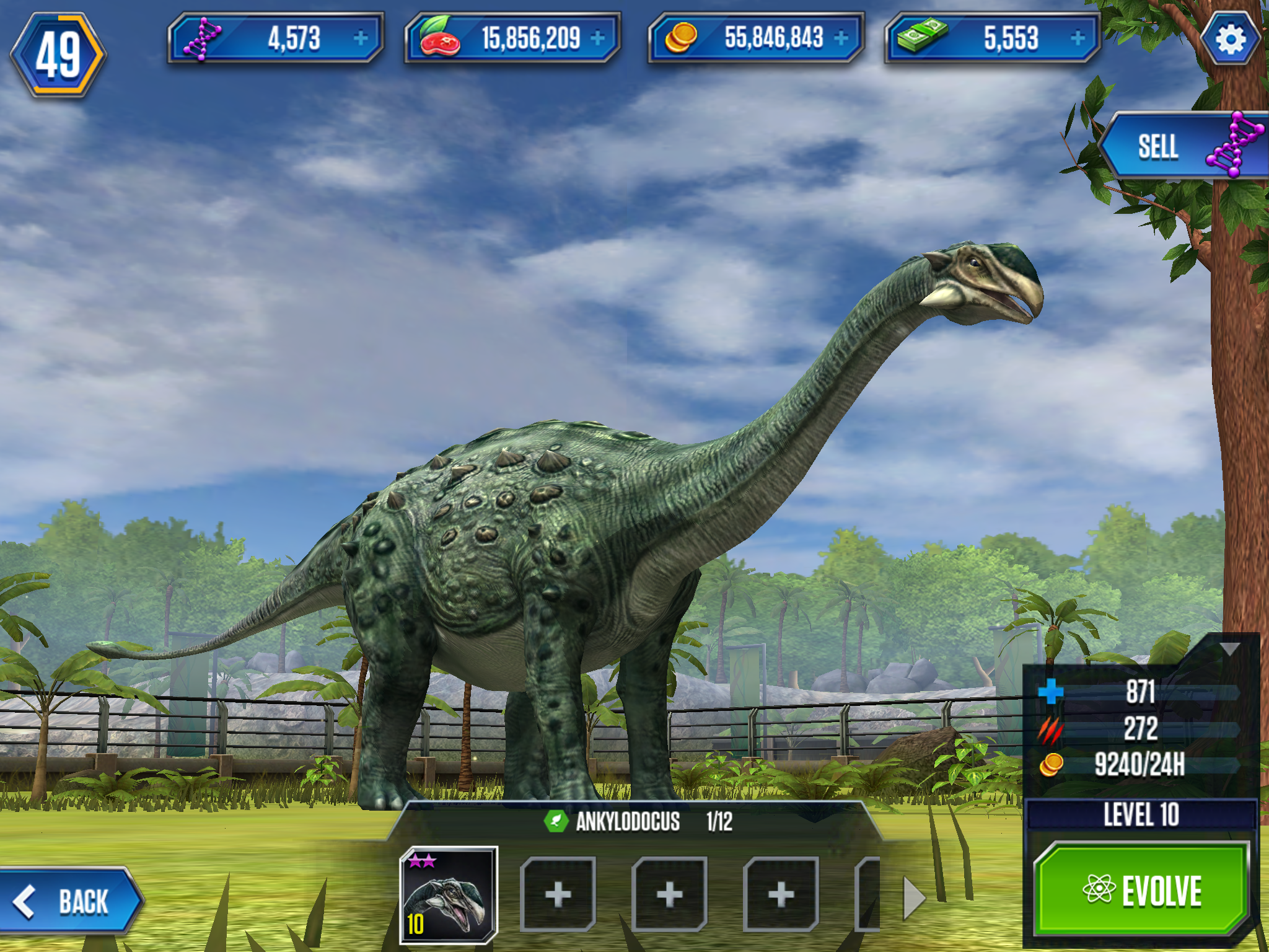 Ankylodocus, a hybrid in Jurassic World: The Game