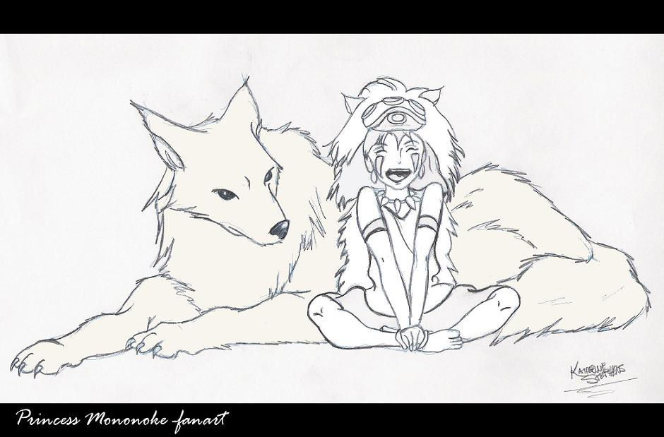 Princess Mononoke San And Her Wolf Brother Coloring Page