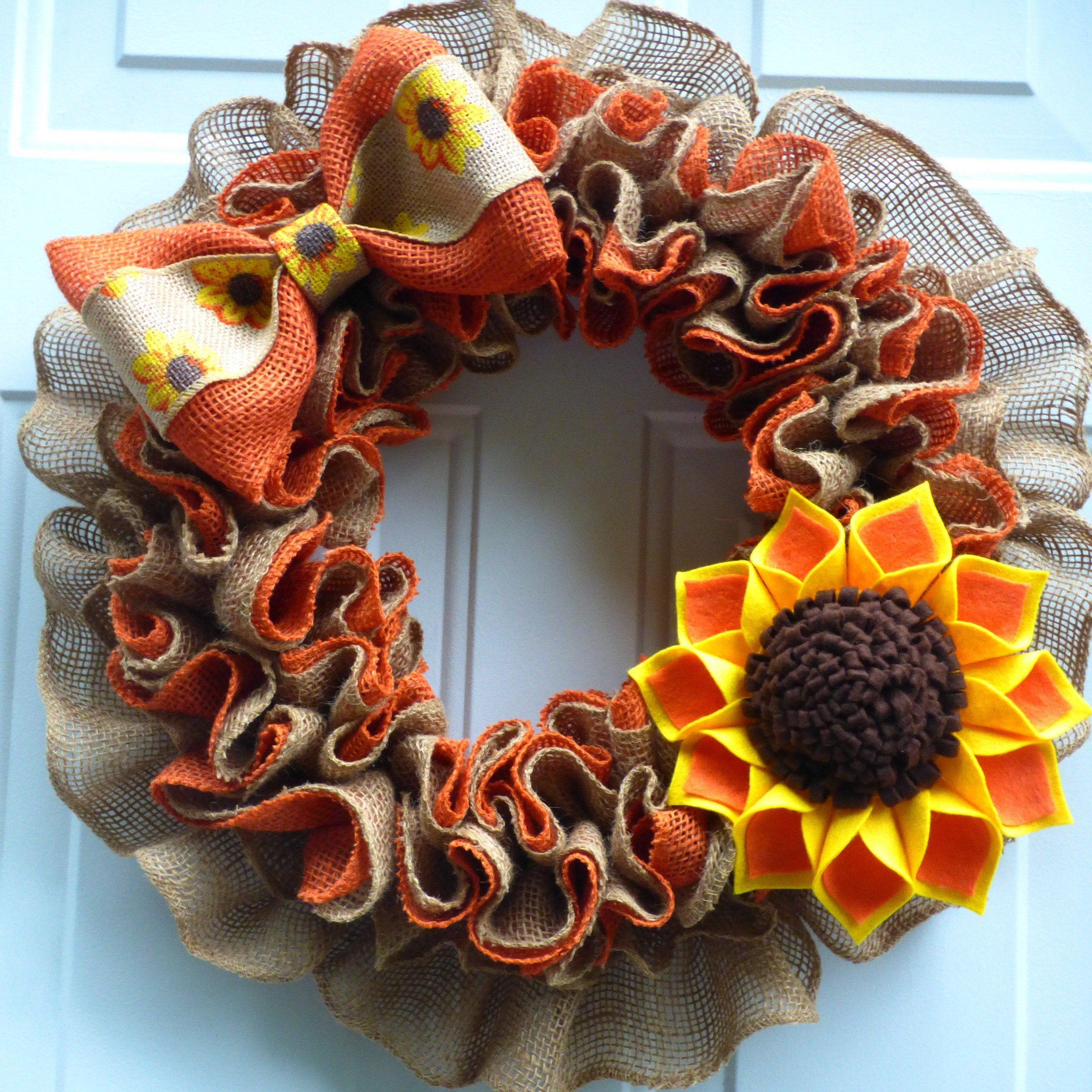 Ruffled natural burlap Harvest Wreath