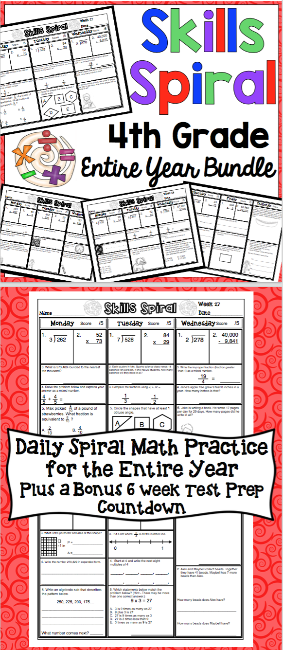 4th Grade Math: Skills Spiral (Entire Year Bundle)   Math skills ...