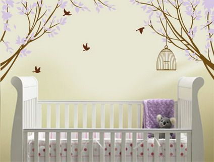 vinyl wall decal sticker corner branches with decorative vinyl wall bird cage children nursery not purple - Baby Wall Designs