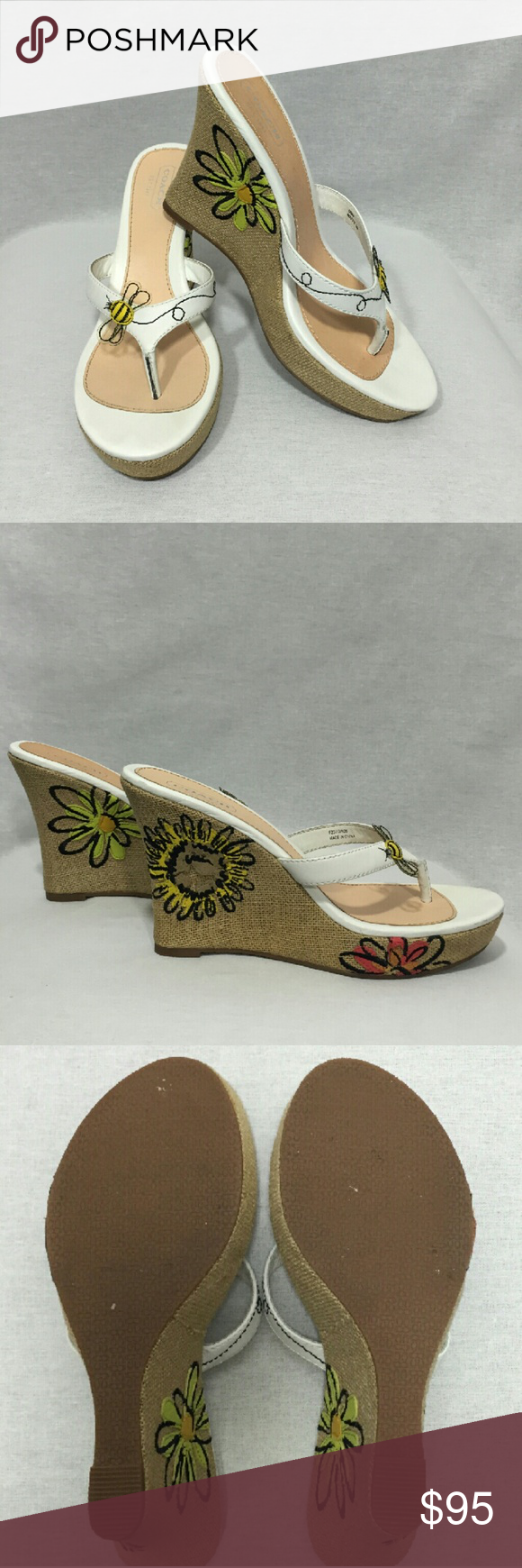 """Coach """"Mattie"""" Wedge Sandals Absolutely adorable wedge sandals from Coach. Wedges feature bumble bee with transparent wings on straps and multicolored flowers on wedge, inside and out. 4"""" heel with 1"""" platform. Shoes are in great condition on both the exterior and the soles. Perfect with a sundress or cropped jeans. Coach Shoes Wedges"""