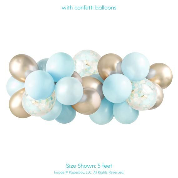 Balloon Garland Kit - Light Baby Blue & Gold — ( Balloon Arch / Balloon Decor / Baby Boy Shower / Baby Shower ) #balloonarch