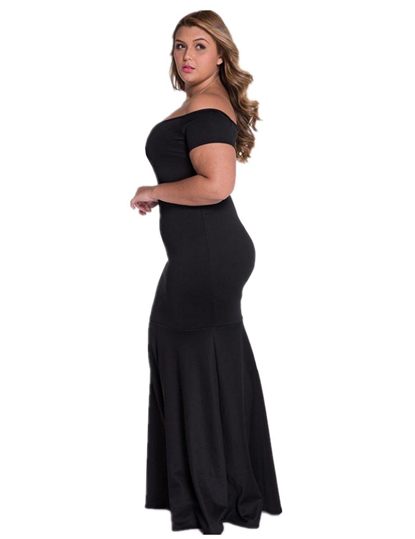 Womenus plus size off shoulder evening formal maxi dress black