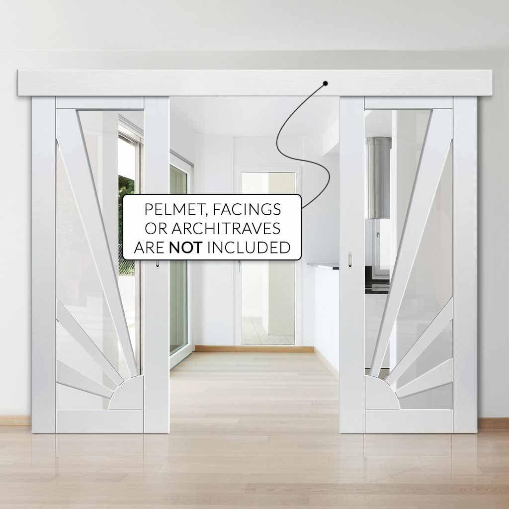 Double Sliding Door Wall Track Calypso Aurora White Primed Doors Clear Glass In 2020 Primed Doors Double Sliding Doors Glass Barn Doors Interior