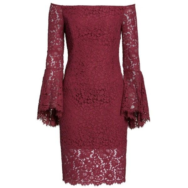 96b43955 Women's Bardot Solange Corded Lace Sheath Dress ($159) ❤ liked on Polyvore  featuring dresses, burgundy, lace sleeve dress, sleeved dresses, sheath  cocktail ...