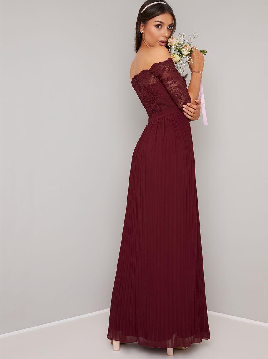 cc91f5213c8b Chi Chi Whitley Lace Bardot Sleeve Pleat Bridesmaid Maxi, Red ...