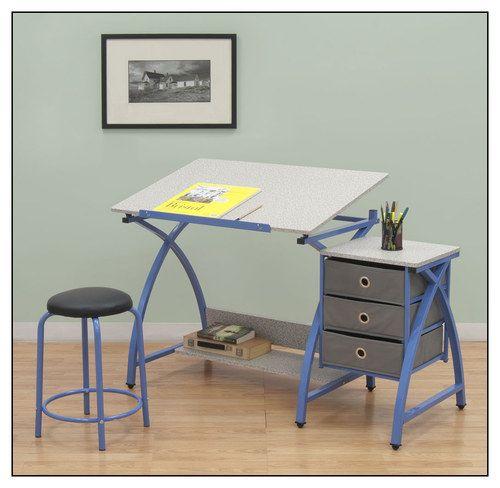 Awe Inspiring Studio Designs Comet Center Craft Desk Blue Gray Desk Bralicious Painted Fabric Chair Ideas Braliciousco