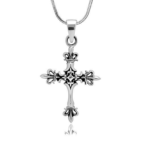 Sterling Silver Fleur De Lis Pendant on 18 Inch Link Chain