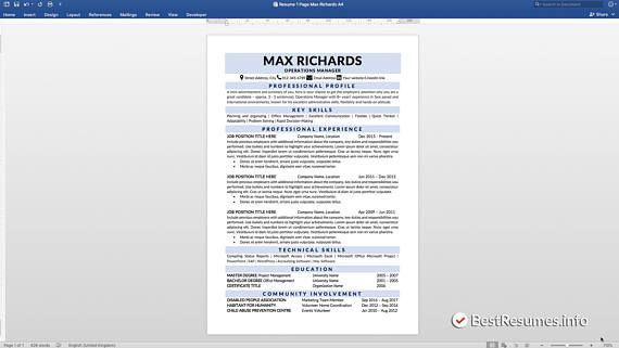 1 Page Resume Inspiration Clean Resume Resume Template Word Resume Template Instant Download .