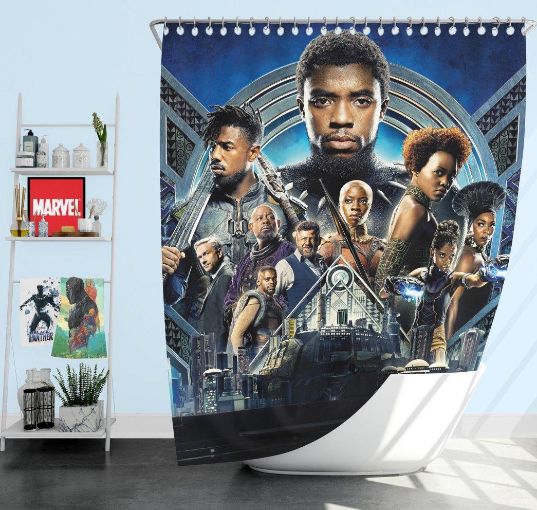Black Panther Movie 2018 Marvel Shower Curtain Black Panther