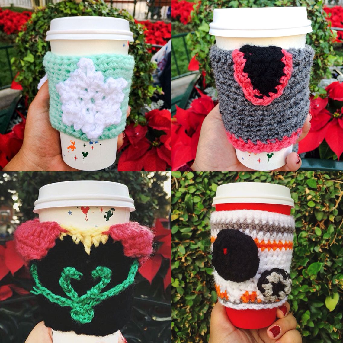 Disney Crochet Coffee Cozy/Sleeves [Anna, Elsa, Kristoff, BB-8 ...