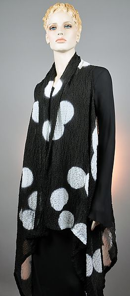Black and White Bubble Silk Willow Vest: Michael Kane: Silk Vest - Artful Home