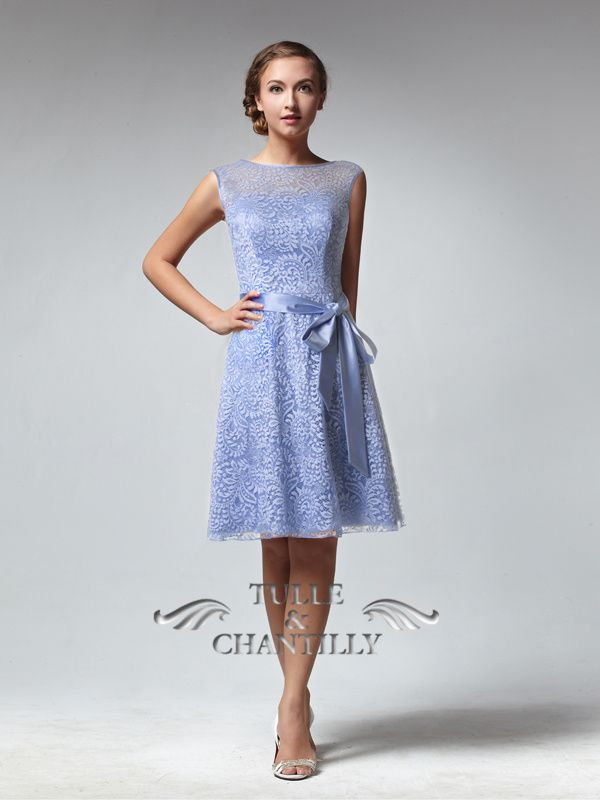 Vintage Sleeveless Illusion Neckline Lace Bridesmaid Dress With ...