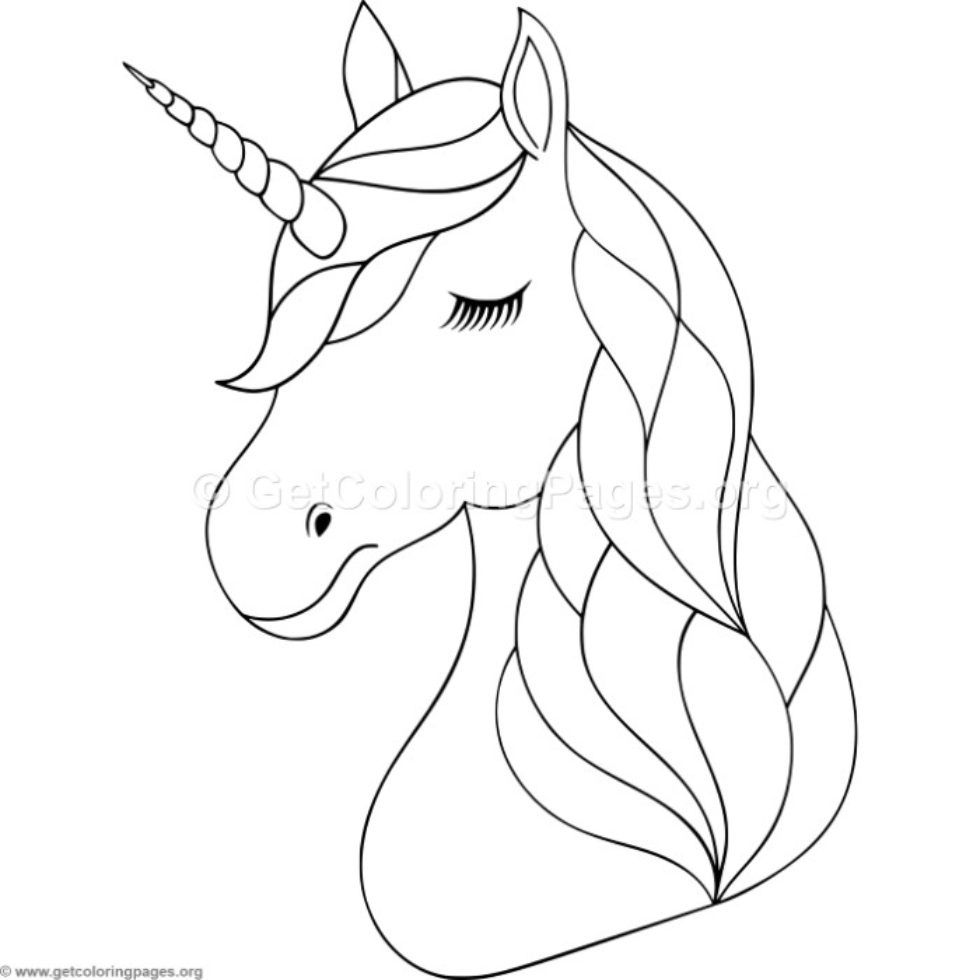 Unicorn Head Coloring Pages Getcoloringpages Org Party Sheet