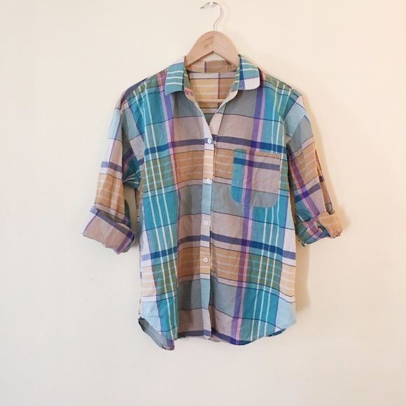 Colorful plaid shirt Worn lightly. Loose fit • 11086 • Tops