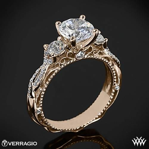 20k Rose Gold Verragio Beaded Twist 3 Stone Engagement Ring