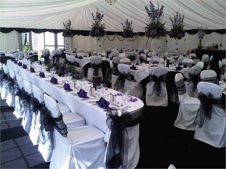 hire chair covers glasgow vermont wooden rocking chairs white with a touch of purple and black decoration pinterest cover