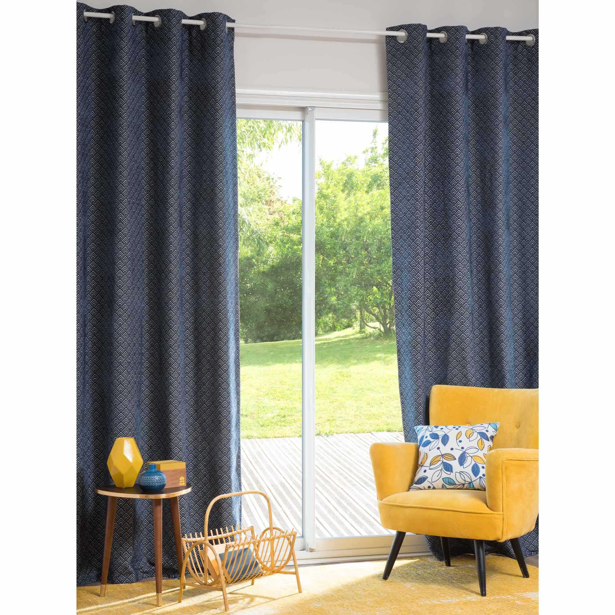 rideau illets bleu 140 x 250 cm oeillet bleu et maison du monde. Black Bedroom Furniture Sets. Home Design Ideas