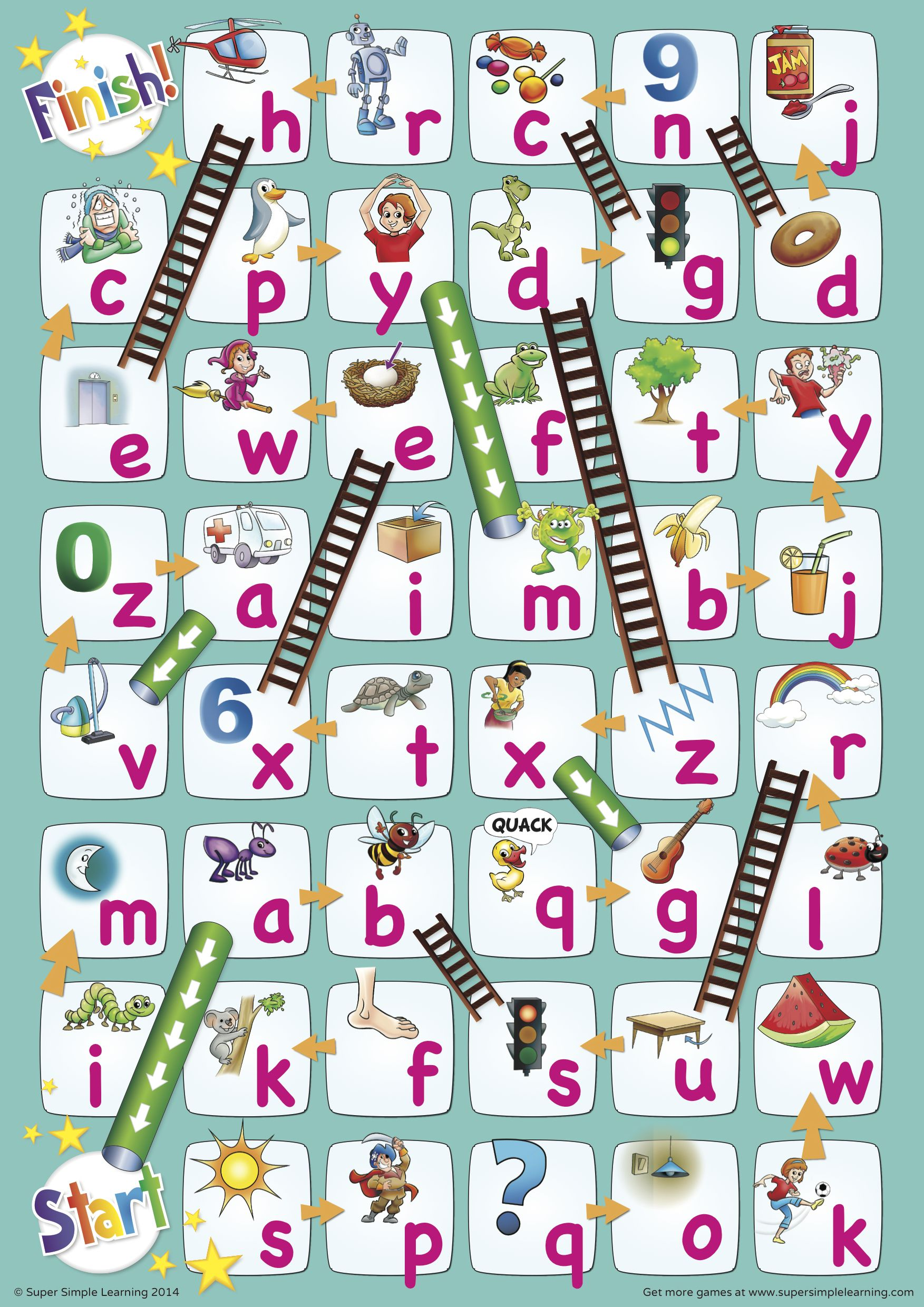 Chutes And Ladders W The Lowercase Alphabet With Images