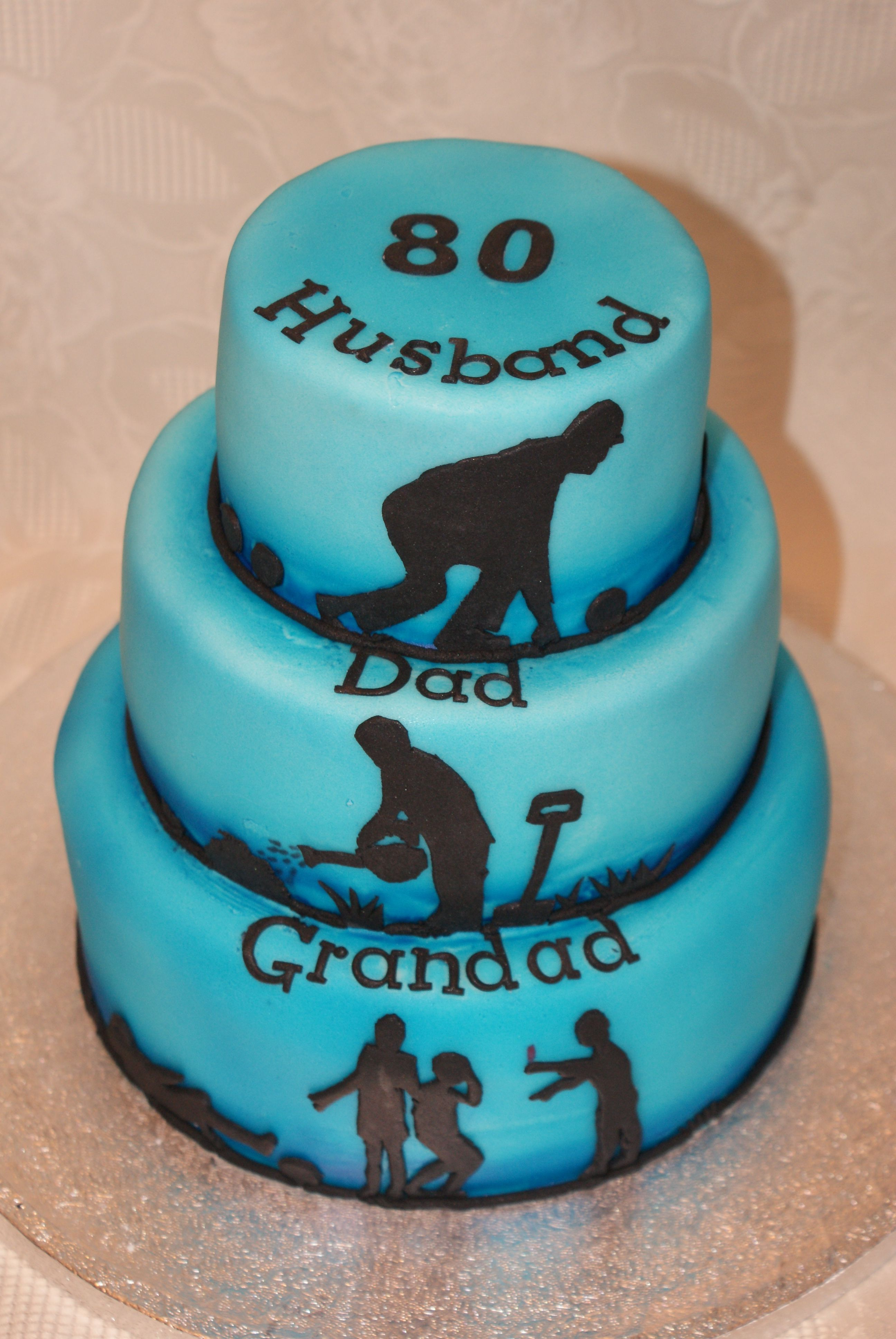 80th Birthday cake.Husband, Dad, Grandad tiered cake with ...