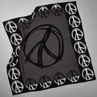 Peace Warrior Black, white & charcoal silk scarf - Barbara Hulanicki, IconClub