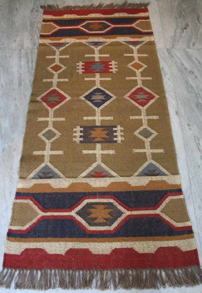 Vintage Turkish Kilim Rug Floor Runner Wool 30 X 72 Antique Carpet