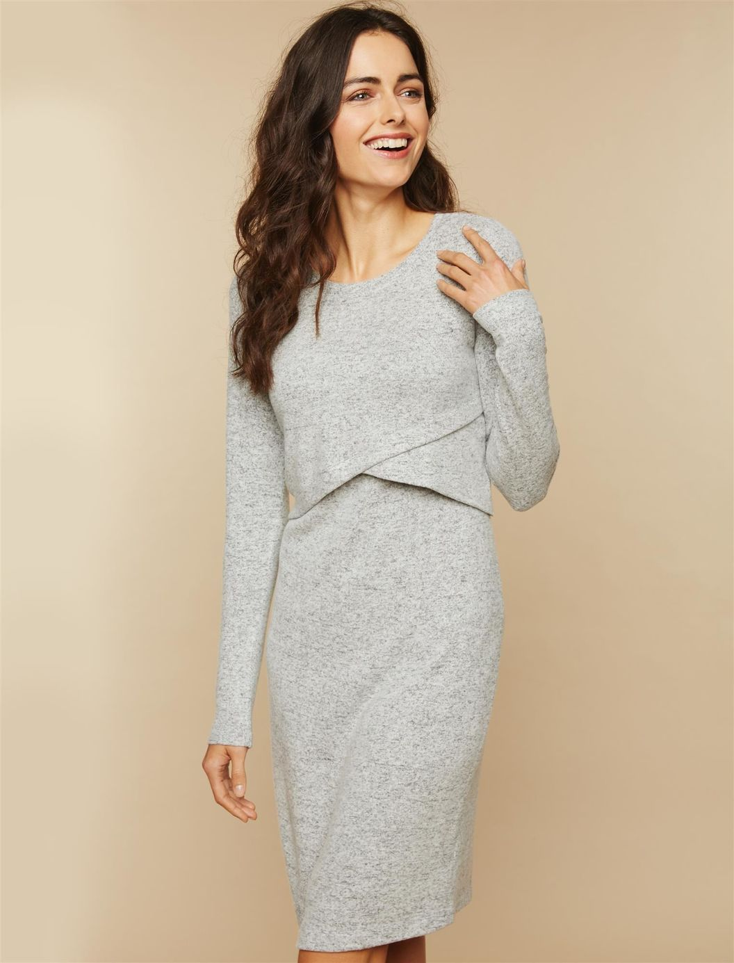 8273f8b26ce Heathered Nursing Sweater Dress