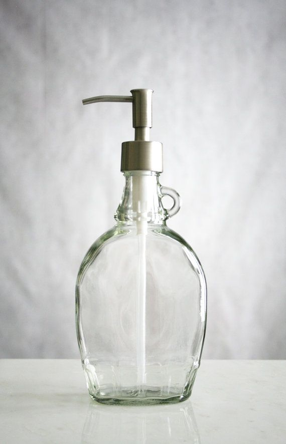 Small Fluted Glass Soap Dispenser With Stainless Pump Diy Soap