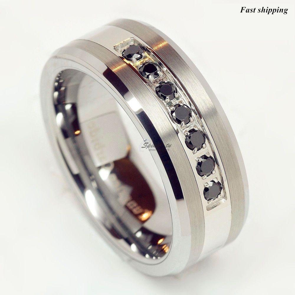 Luxury Best Tungsten Ring Black Diamonds Mens Wedding Band Brushed Size 6 13 Jewelry Watches Men S Rings Ebay