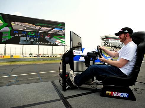 Dale Earnhardt Jr playing iRacing at Charlotte Motor Speedway