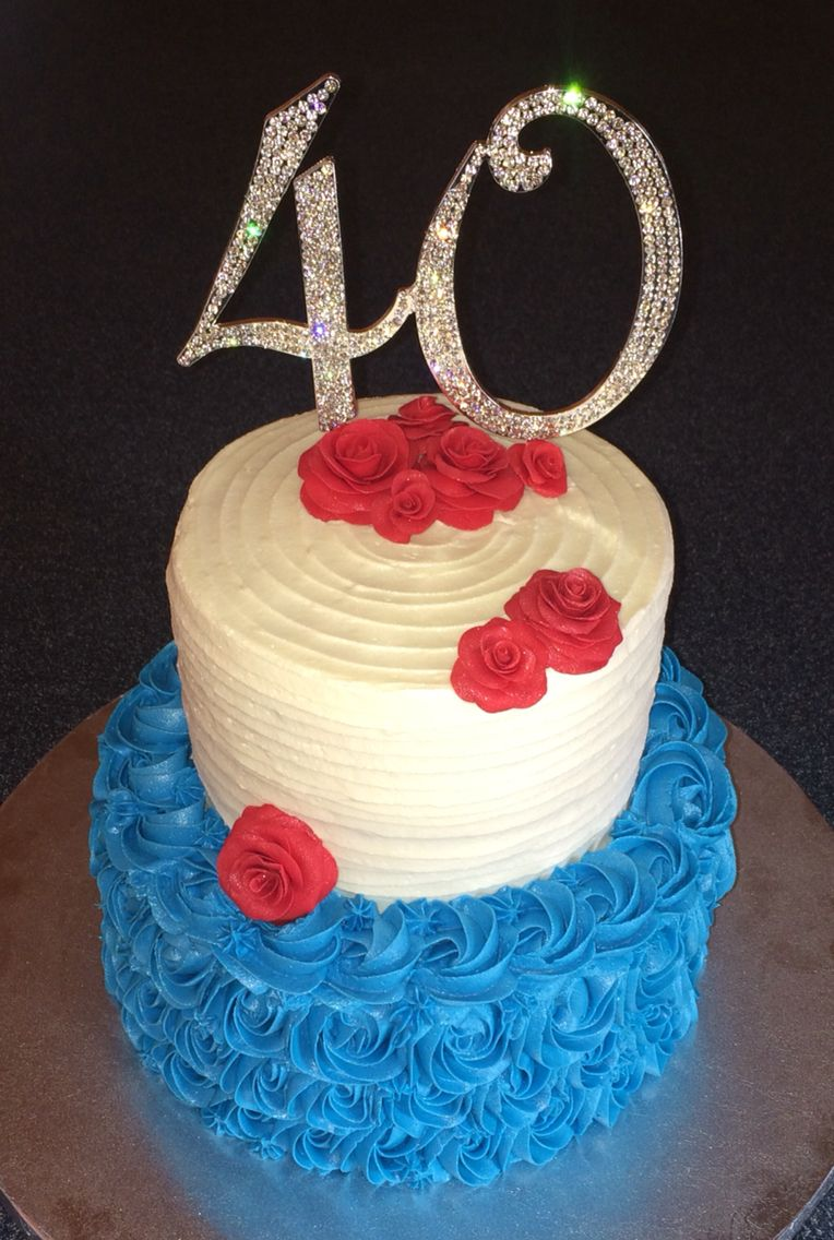 40th Red White Blue Birthday Cake For Amanda Cakes Ive Made
