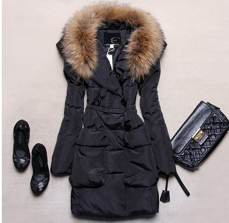 Hot Sell Women's Just Cavalli Real Fur Goose Down Jacket Freizeit ...