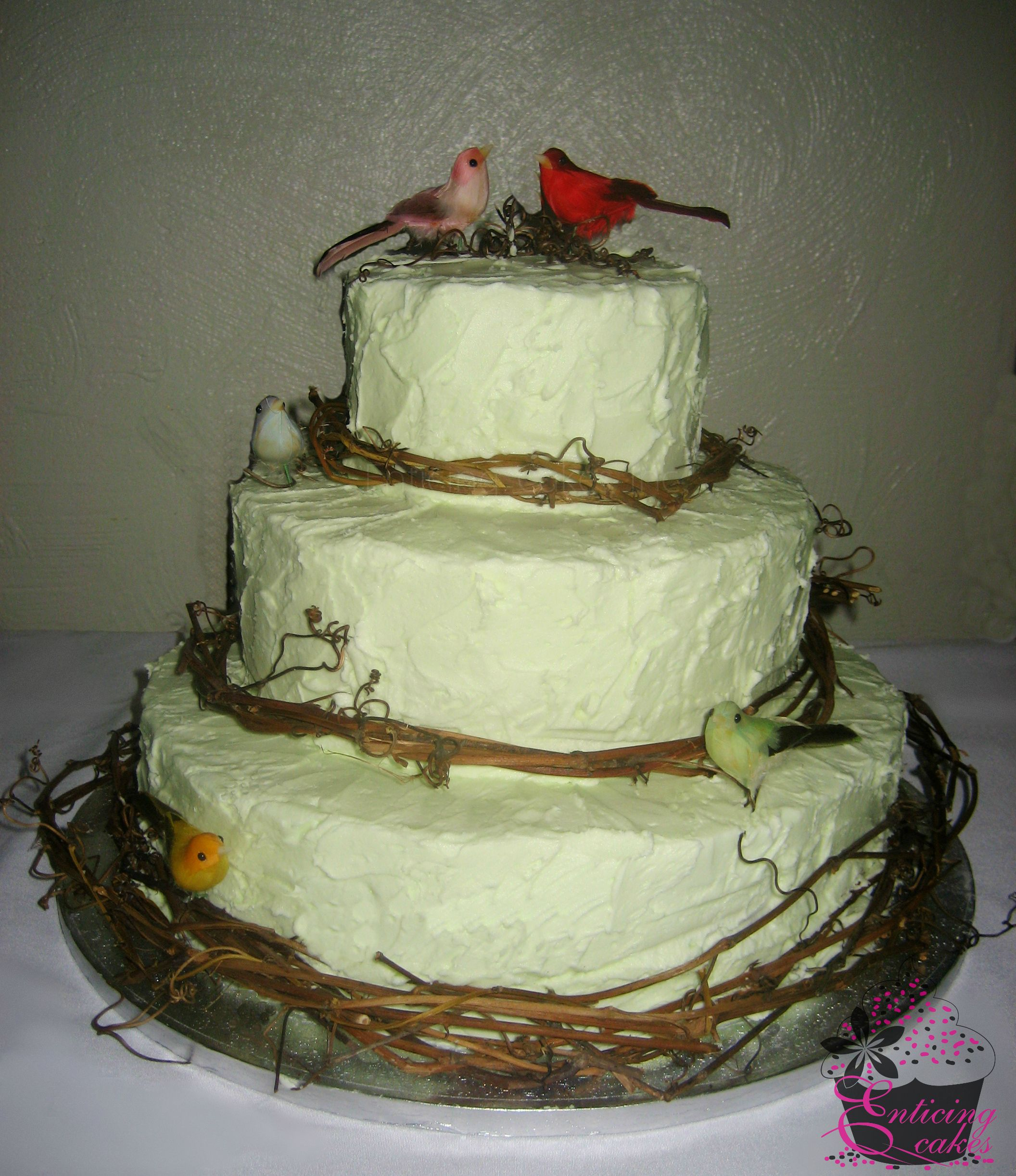 Rustic Mint Green Wedding Cake