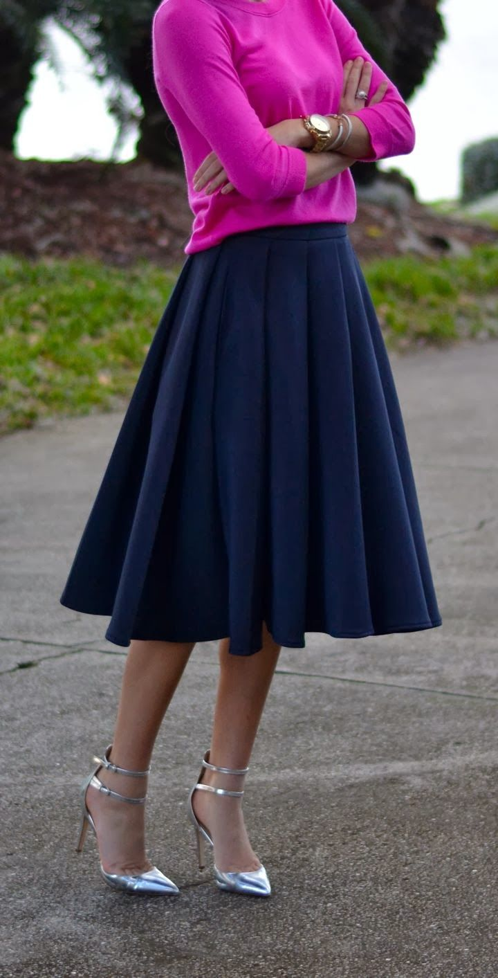 b5306a3fa83 Hot pink knit and navy blue skater skirt.
