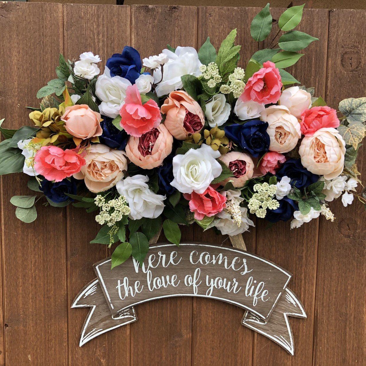 Burgundy Peach Navy Wedding Archway Flowers, Wedding